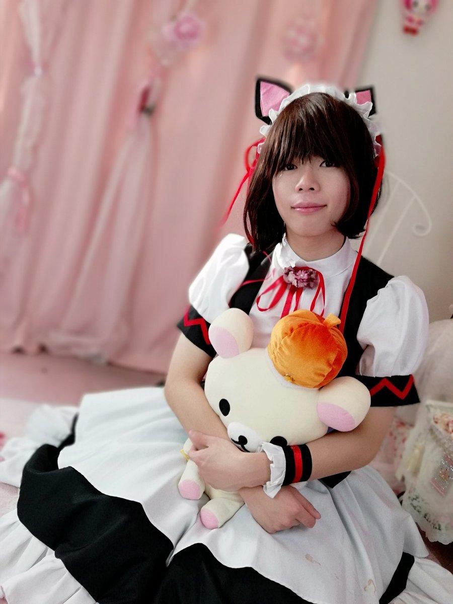 新大阪の女装サロン「ひめべや」のお客様の写真です。ハルミヤさんのメイドコスプレです。